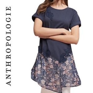 Anthropologie Akemi + Kim Kris Navy Floral Tunic